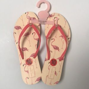 Kate spade nwt sz 10 flamingo flip flops 🦩 ♠️